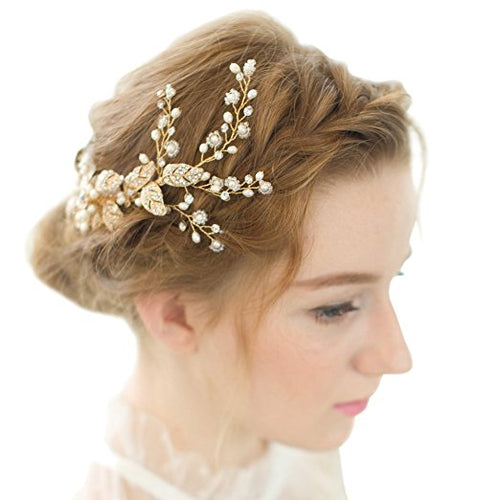 Vintage Gold Twig Crystal Pearl Side Combs Bridal Headpiece Wedding Accessories