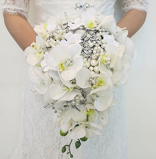 Waterfall Bride Bouquet Artificial Phalaenopsis
