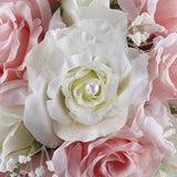 Waterfall Bride Bouquet Elegant Pink White Artificial Rose Flower