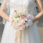 Wedding Bouquet, Artificial Rose Flowers Romantic Bride Holding Bouquet