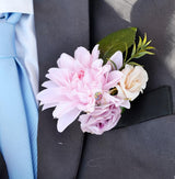 Wedding Boutonniere for Men Dahlia 4 Pack