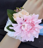 Wedding Corsages Handmade Satin Dahlia With Pearl Elastic Wristband 4 Pack