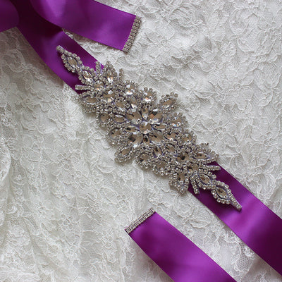 Wedding Dress Belts Rhinestone Satin Ribbon