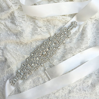 Wedding Dress Sash Bridal Rhinestone Ribbon