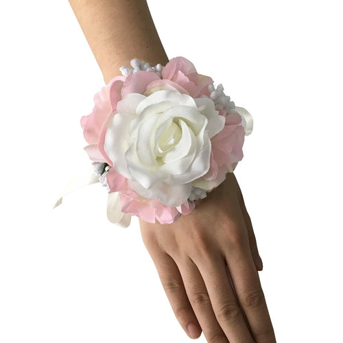 Wedding Prom Ivory Pink Silk Flower Wrist Corsage