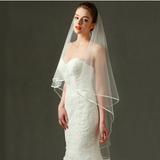 Wedding Veil Bridal Tulle Veils with Lace Ribbon Edge