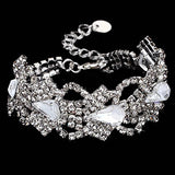 Women Antique Silver Stretch Bracelet Bridal Rhinestone Bangles