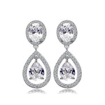 Women's Cubic Zirconia Crystal Wedding Tear Drop Earrings