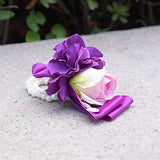 Wrist Corsage for Bridesmaid Purple Orchid Pink Rose Hand Flower