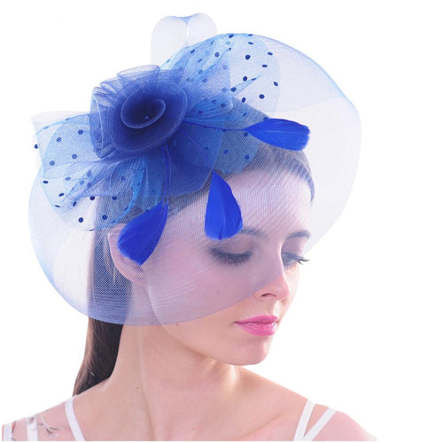 Elegant Flower Polka Dot Mesh Net Veil Feather Fascinator Hair Clip Hat