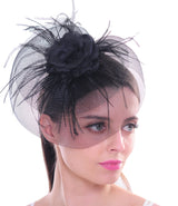 Feather Fascinators for Women Pillbox Hat for Wedding Party Derby Royal Banquet