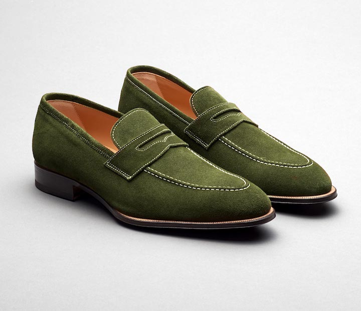 Scarpe Di Bianco Men's Suede Loafers in Moss Green