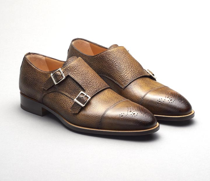 Scarpe Di Bianco Men's Brown Double Monk Strap Loafers