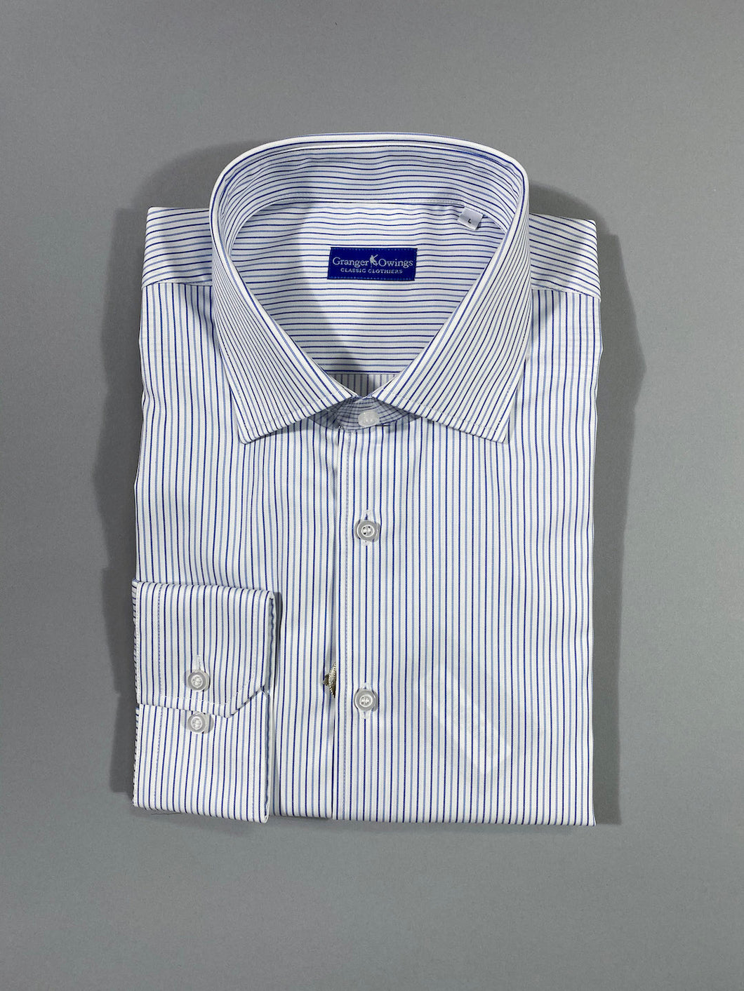 LIGHT BLUE AND NAVY STRIPE SPORT SHIRT