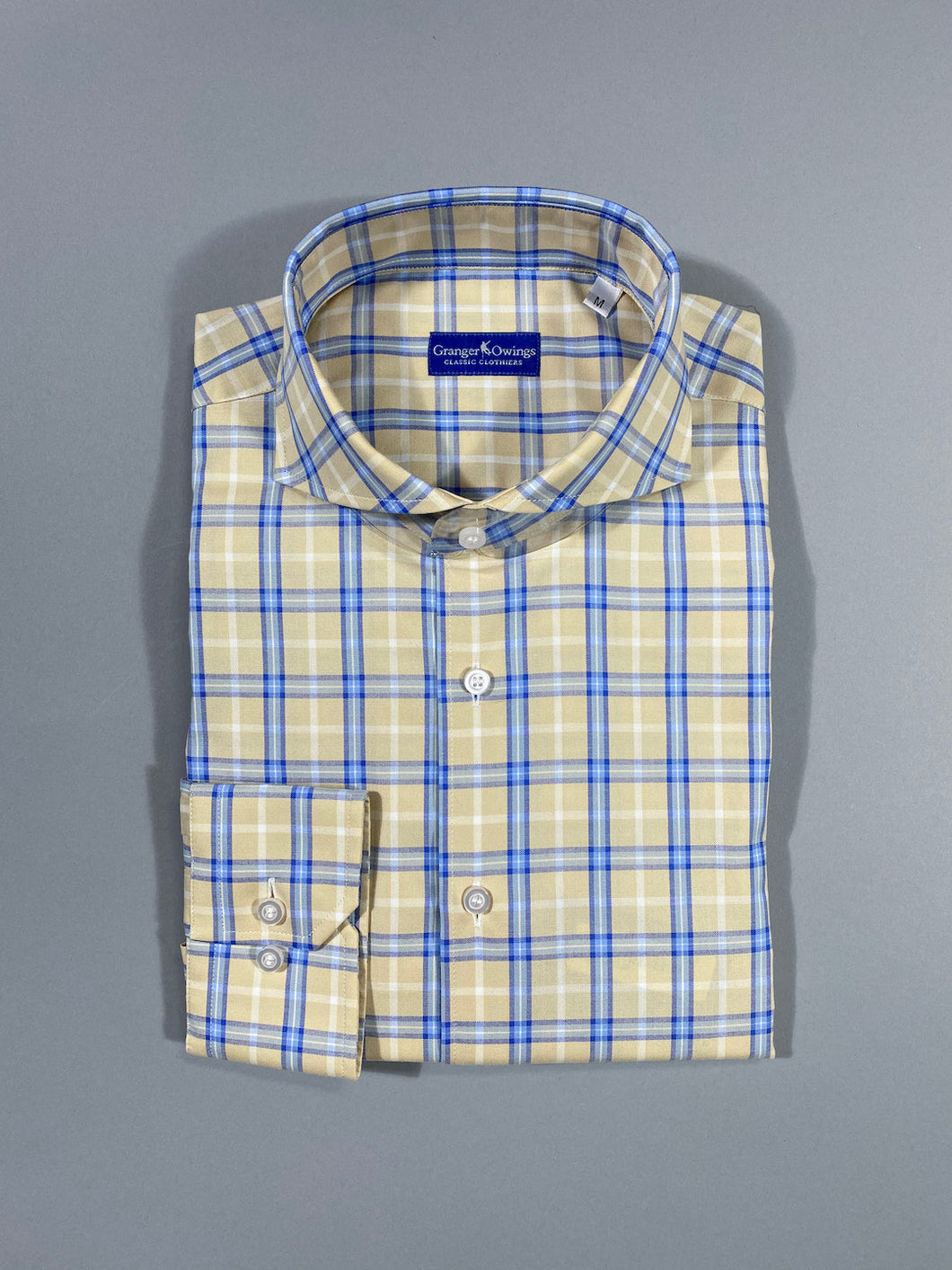 YELLOW AND BLUE PLAID SPORT SHIRT