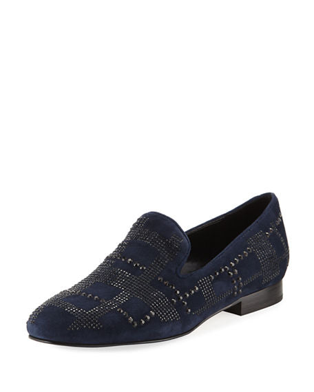 donald j pliner women's libbi kid suede flat in navy