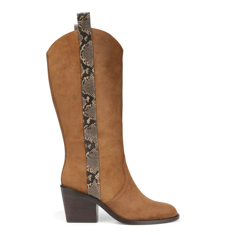 donald j pliner women's riot waxy suede boot in camel brown