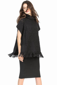 leo and sage tassel poncho black