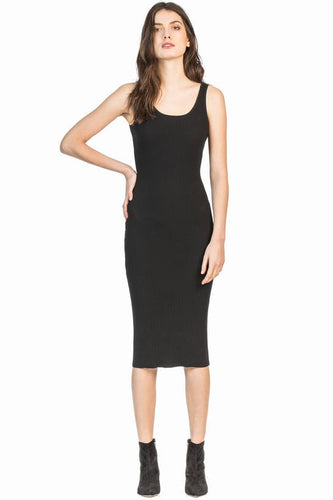 leo and sage women's ribbed Laxi dress in black