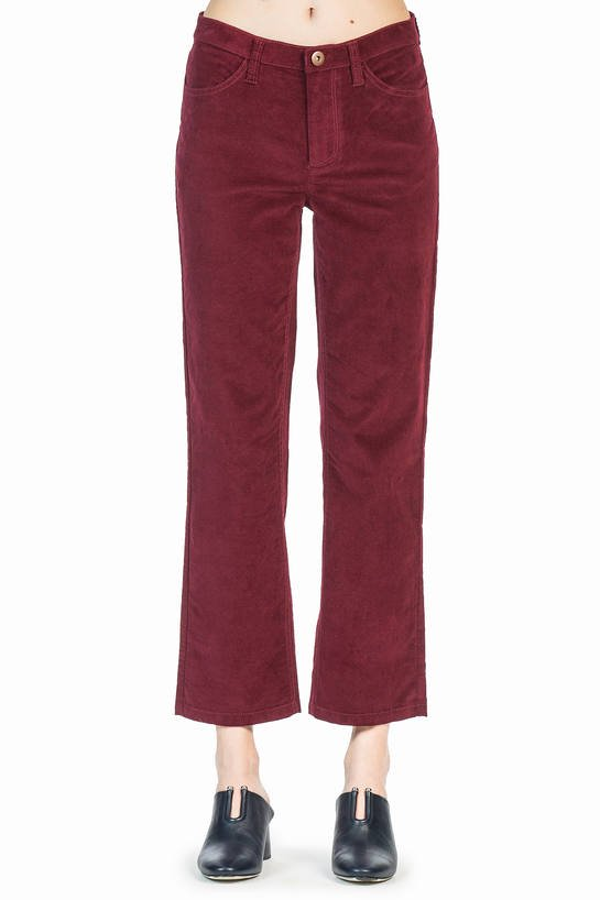 leo and sage women's moleskin trouser in Burgundy