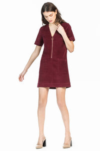 leo and sage women's moleskin dress in Burgundy