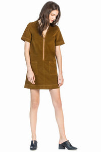 leo and sage women's moleskin dress in saffron
