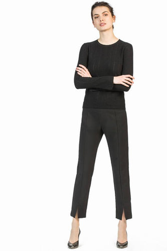 leo and sage women's woven double cloth slim pant in black