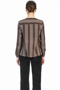 leo and sage women's stripe tuxedo shirt in mahogany