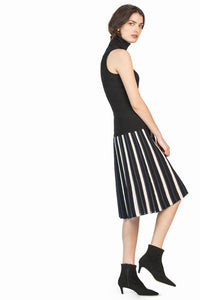 leo and sage women's stripe sparkle pleated skirt in black mix