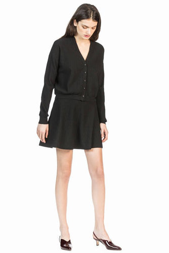 leo and sage women's stretched knit cardigan in black