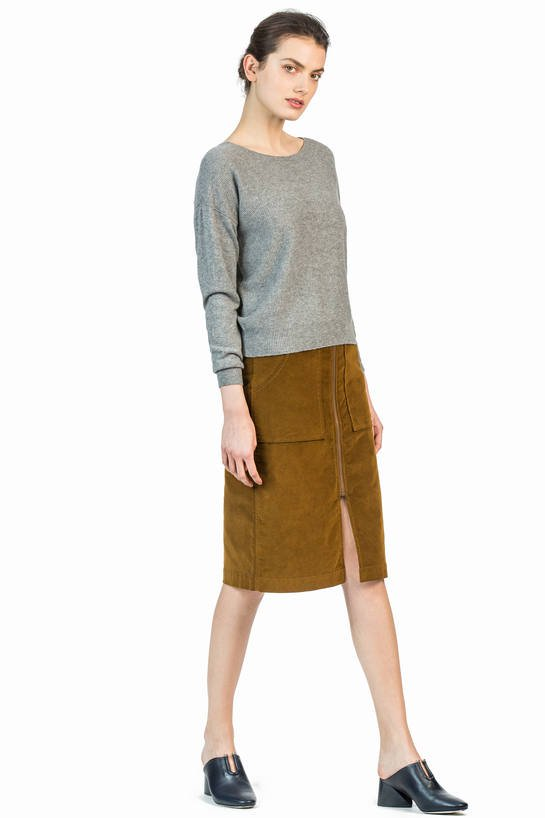 leo and sage women's moleskin front zip skirt in cedar