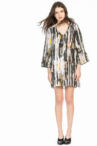 leo and sage women's silk bell sleeve dress in multi