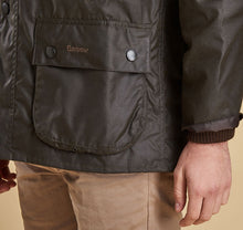 Men's Barbour Olive Bedale Wax Jacket Pocket and Sleeve Detail View