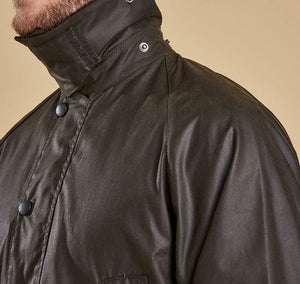 Men's Barbour Olive Bedale Wax Jacket Collar
