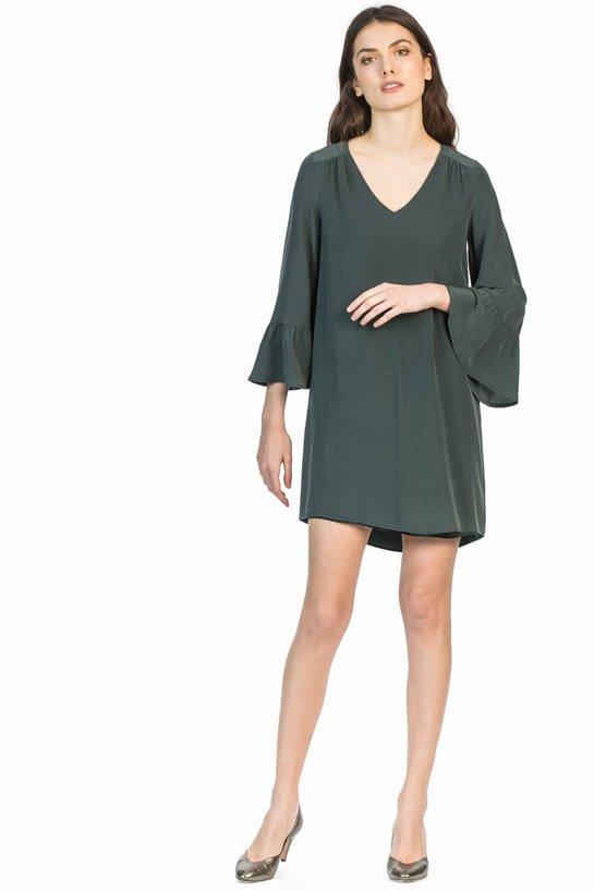 leo and sage women's silk bell sleeve dress in black