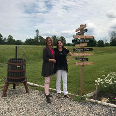 Iona & Ruth beside Jabulani directional sign