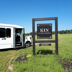 La Vida Local tour bus arrives at KIN Vineyards in Carp, Ontario