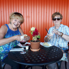 La Vida Local tour guests tasting Highway 29 fruit wines at Needham's Market Garden.