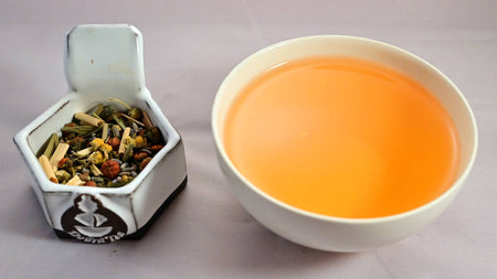 A side-by-side comparison of the Eternal Spring blend and steeped tisane. On the left, the blend prominently features lemongrass, lavender, and chrysanthemum. On the right, the steeped tisane is bright orange.