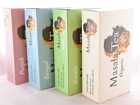 "Four boxes standing on their sides facing upwards. From left to right, text reads: ""Punjab, Bengal, Kerala, Masala Tea Organic."""