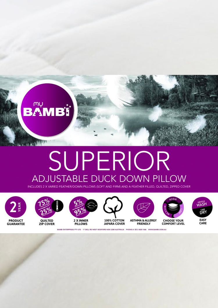 Bambi 2 in 1 Feather and Down Pillow - Superior