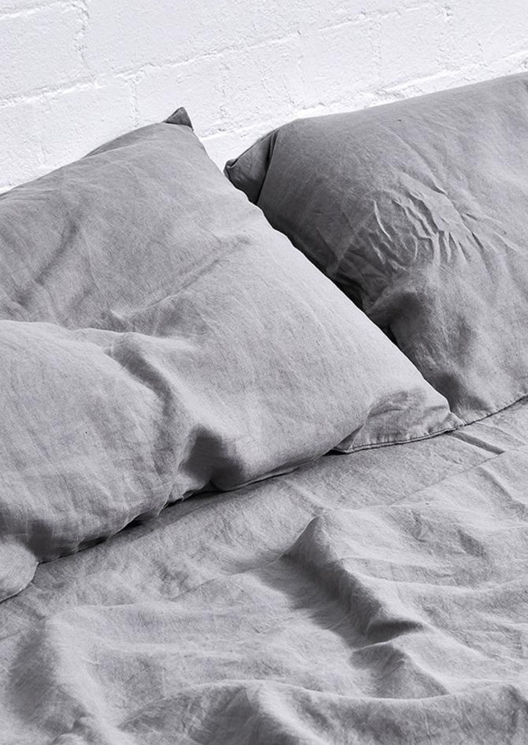 Linen Pillowslip Set in Cool Grey