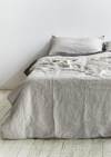 INBED Linen Duvet Cover in Grey & White Stripe
