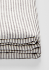 Linen Fitted Sheet in Grey & White Stripe