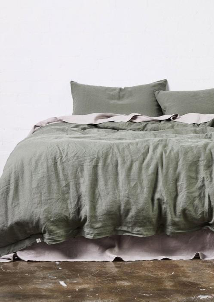 Linen Duvet Cover in Khaki