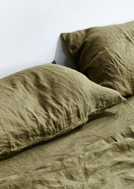 Linen Pillowslip Set in Moss