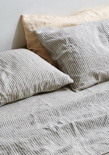 Linen Pillowslip Set in Grey and White Stripe