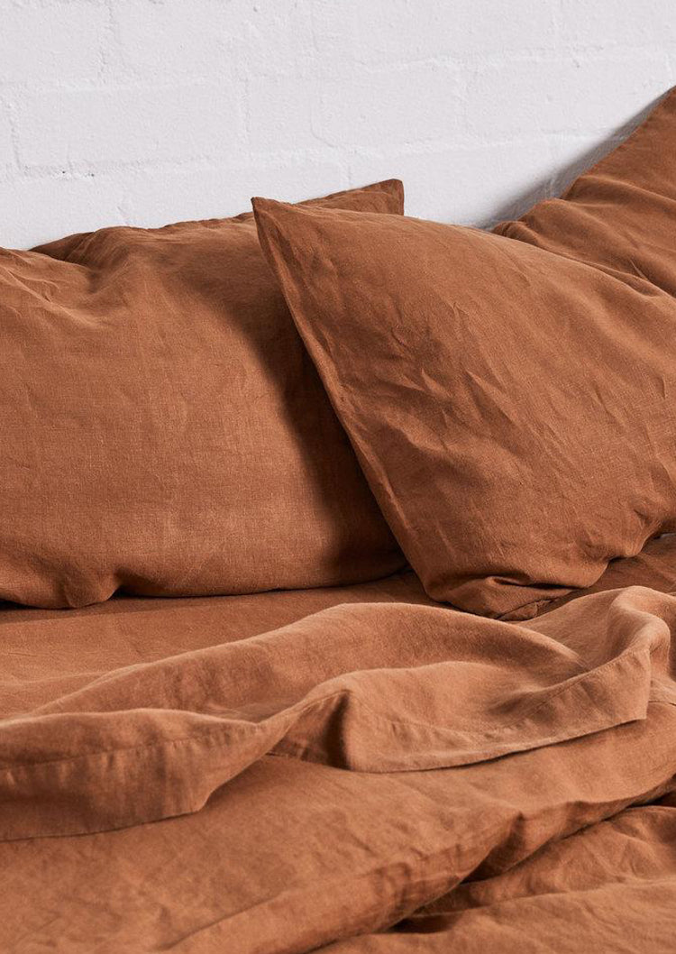 Linen Pillowslip Set in Tobacco