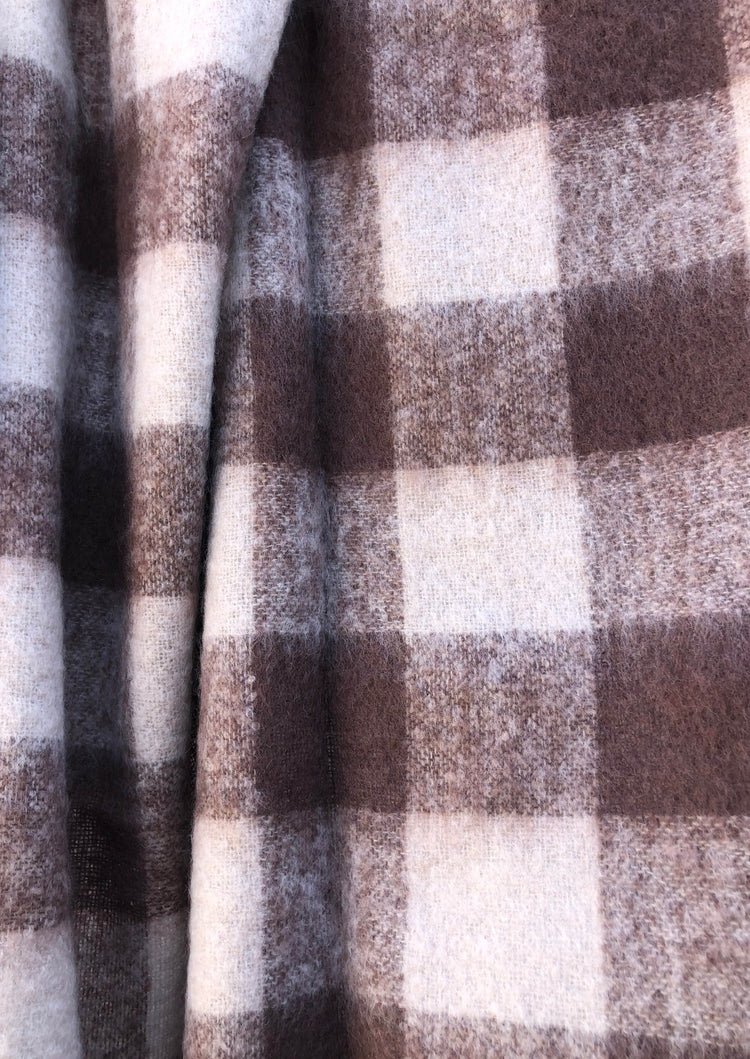 St Albans Mohair Mocha Check Throw