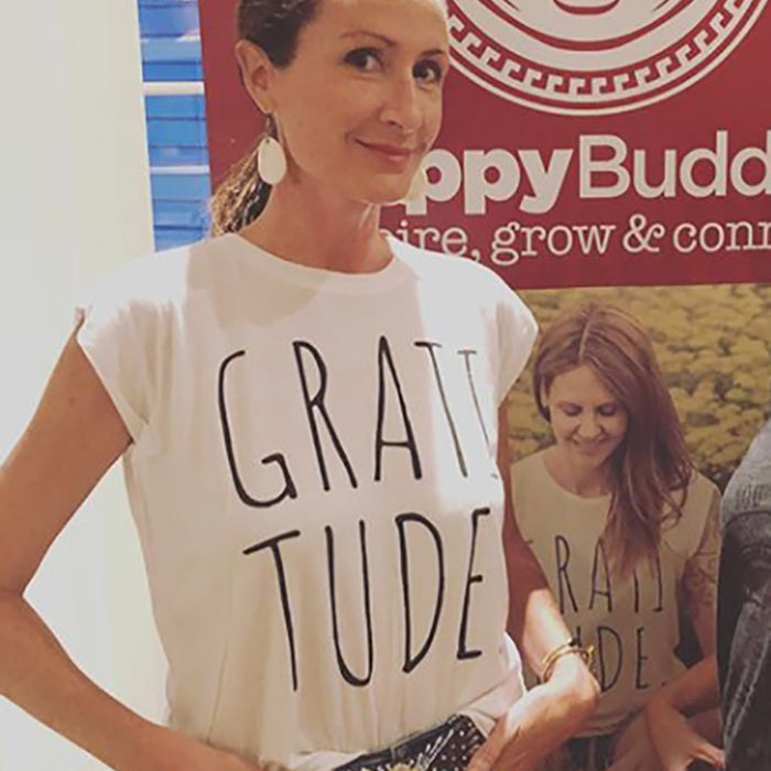 Gratitude Muscle Tee White - Being Happy Buddha
